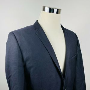 Hugo Boss 40R Adris Sport Coat Black Blue Textured